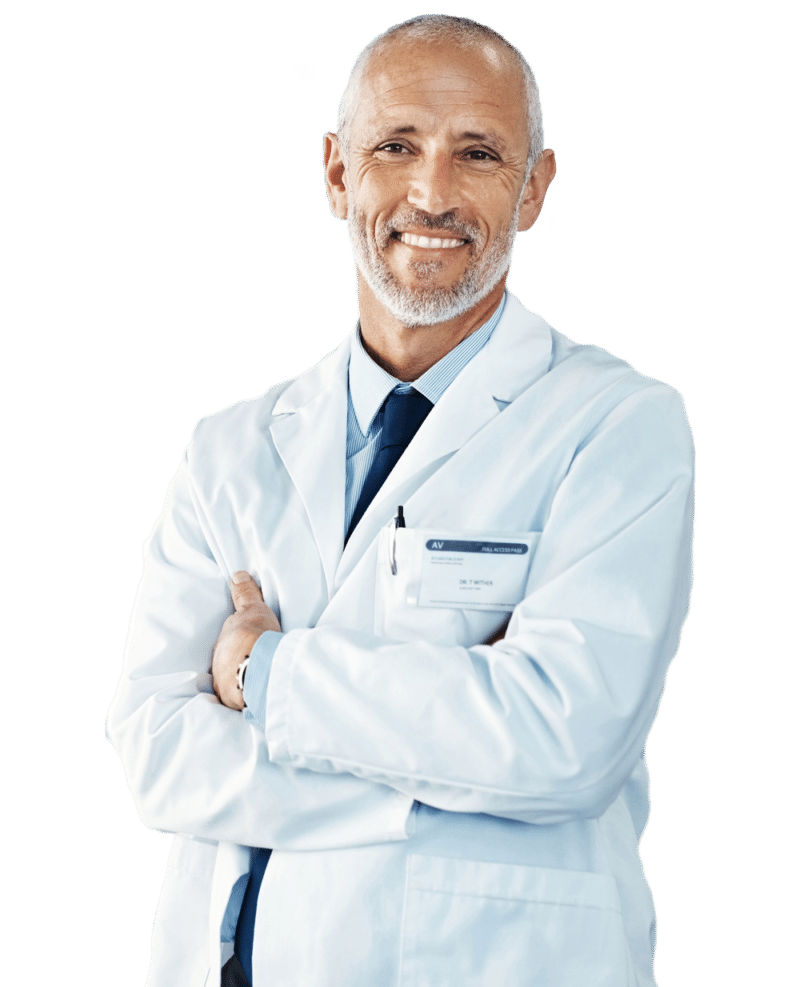 Smiling physician with arms folded